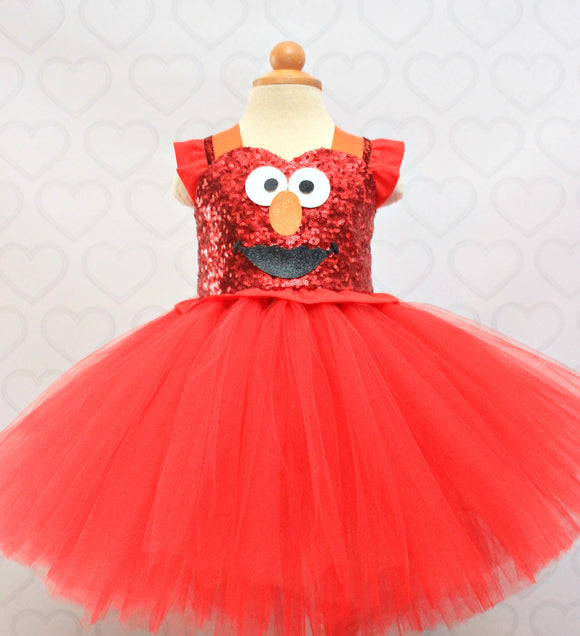 Elmo birthday Dress- Elmo Tutu Dress-Elmo tutu- Elmo Dress-Glam Elmo dress