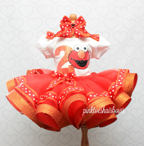 Elmo tutu set-Girly Elmo tutu set-Girl Elmo outfit-Elmo ribbon trim set
