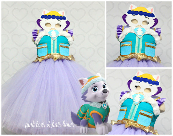 Paw patrol Costume- Everest costume- everest paw patrol tutu dress-paw patrol tutu-everest dress