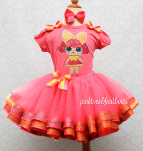 Glitter Queen Lol surprise doll tutu set-lol surprise outfit- lol surprise dress