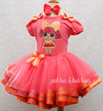 Load image into Gallery viewer, Glitter Queen Lol surprise doll tutu set-lol surprise outfit- lol surprise dress