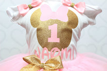 Minnie Mouse Tutu set-Minnie mouse outfit-Minnie mouse dress- Minnie mouse tutu-Pink and gold minnie mouse tutu set
