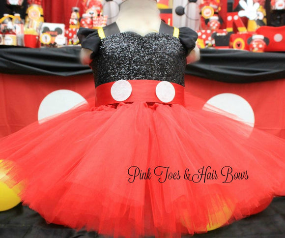 Mickey Mouse dress- Mickey Mouse tutu dress-Minnie Mouse costume-Red Minnie mouse dress