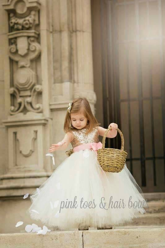 Flower girl dress-Ivory gold Flower girl dress-gold Ivory flower girl dress-The Ava Lynn