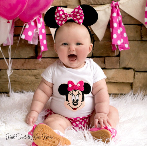 Minnie Mouse Outfit-Minnie Mouse cake smash outfit-Minnie mouse bloomers