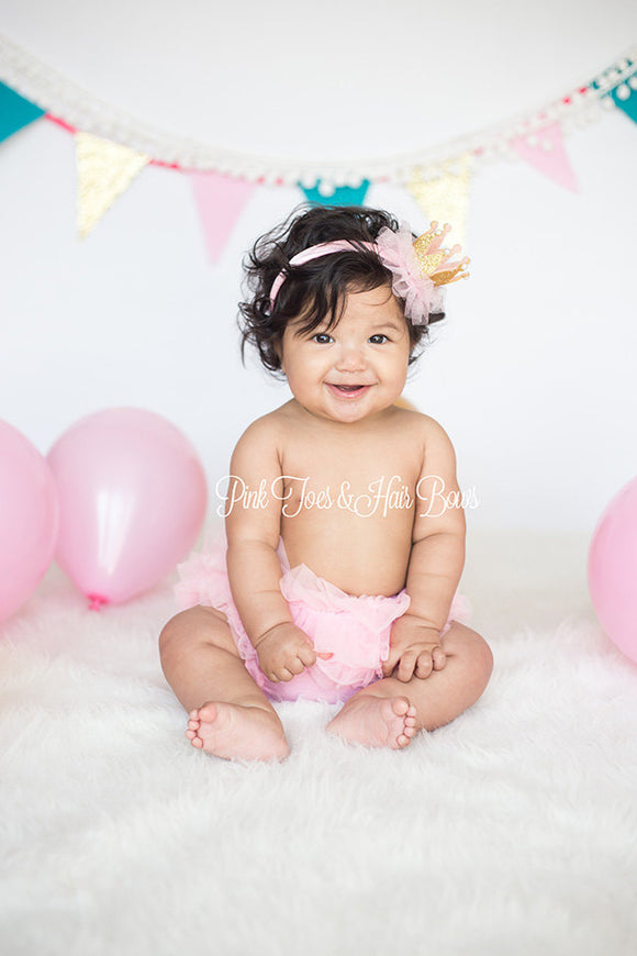 Pink and gold first birthday outfit-first birthday-Cake Smash outfit-bloomers-photography prop