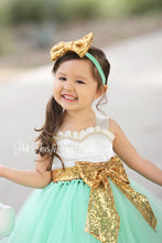 Flower girl dress-Ivory gold Mint Sequin Flower girl dress-gold Ivory flower girl dress