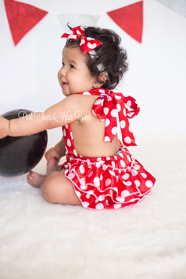 Minnie Mouse Romper-Minnie Mouse cake smash-Minnie mouse outfit-Minnie Mouse