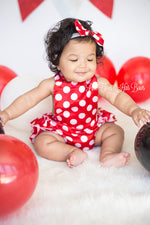 Load image into Gallery viewer, Minnie Mouse Romper-Minnie Mouse cake smash-Minnie mouse outfit-Minnie Mouse
