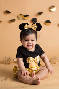 Minnie mouse outfit-Minnie mouse bloomers- black and gold minnie outfit