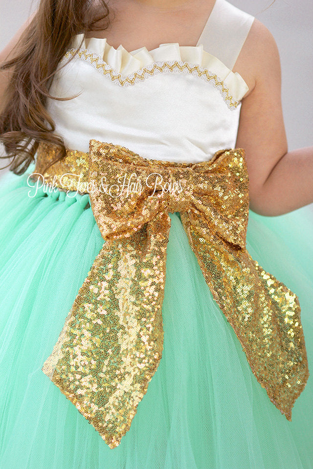 21977282bed ... Flower girl dress-Ivory gold Mint Sequin Flower girl dress-gold Ivory  flower girl ...