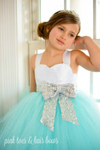 Flower girl dress-aqua flower girl dress-silver sequin dress-aqua and white flower girl dress