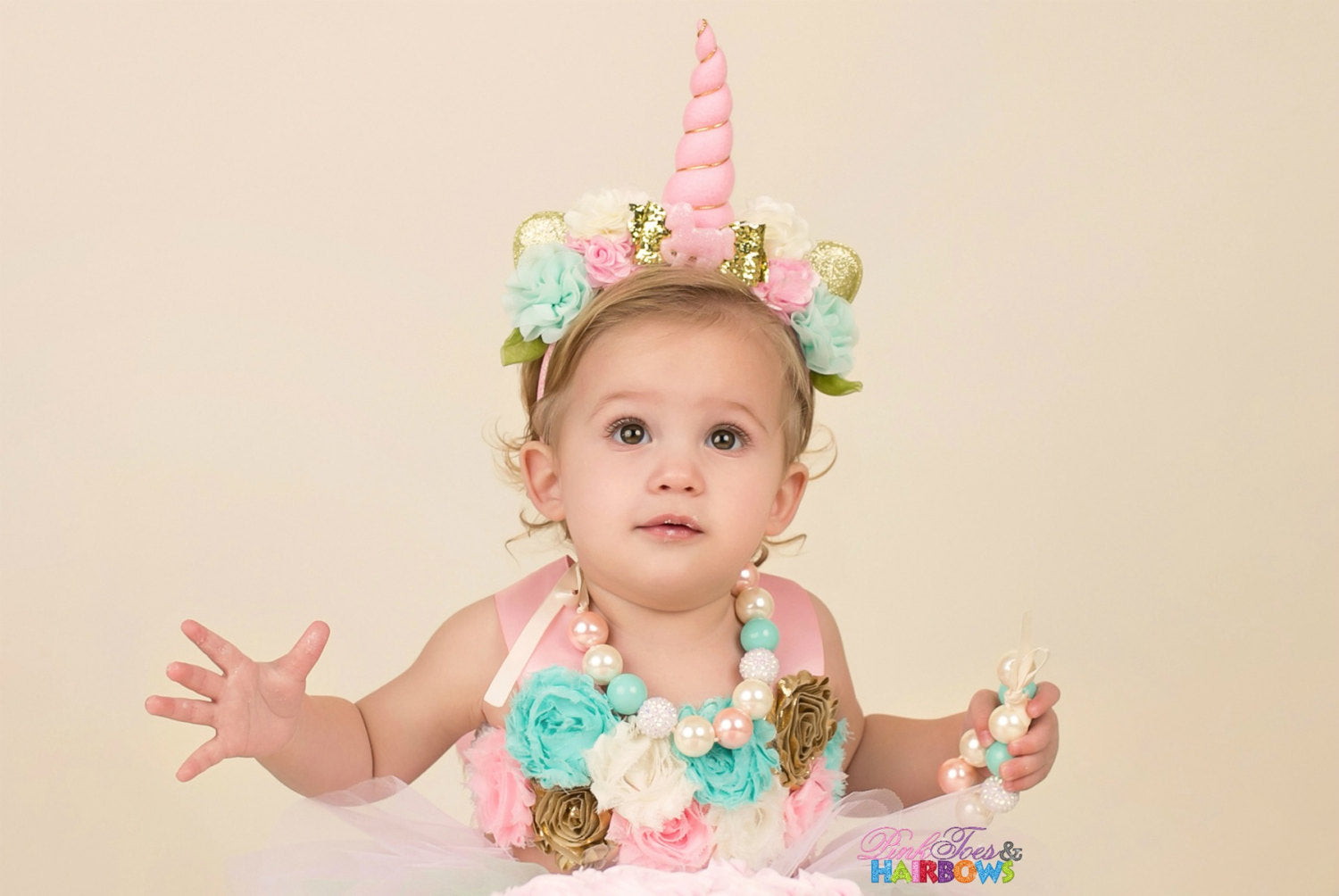 Pastel Chunky necklace-made to match our unicorn cake smash set