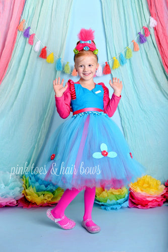 Poppy troll dress- Poppy troll costume-poppy dress- troll dress