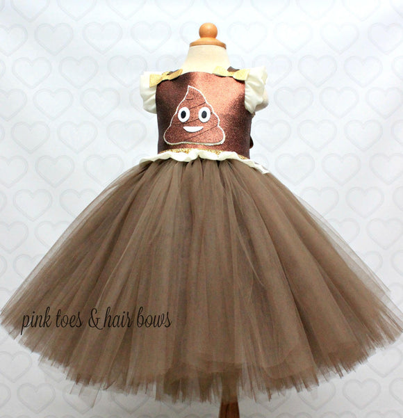 Emoji tutu dress- Emoji costume- Emoji tutu-Emoji dress-poop emoji dress