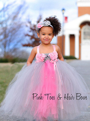 Flower girl dress-Pink and Gray Flower girl dress-The Kennedy