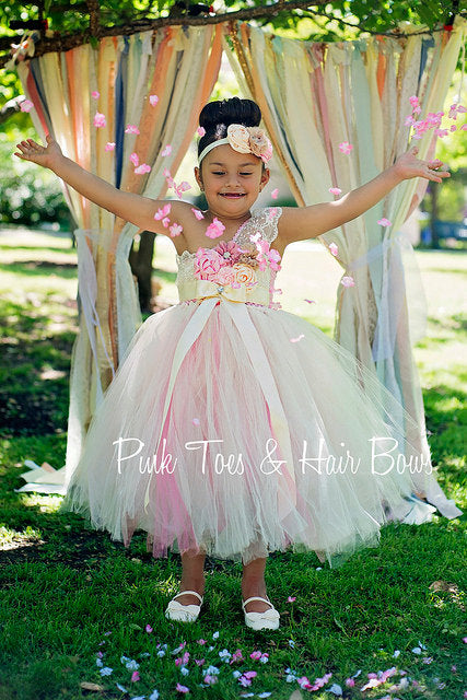 Flower girl dress-Ivory Flower girl dress- Lace pink flower girl dress-The Olivia