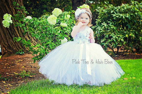 Flower girl dress- White Flower girl dress- The Sophia