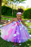Flower girl dress-White Pink and purple Flower girl dress-Pink and purple flower girl tutu dress-white pink and purple couture tutu dress