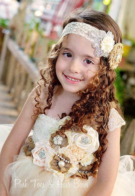 Flower girl dress-Rustic Ivory Burlap Flower girl dress-Ivory flower girl dress-The Chloe Grace
