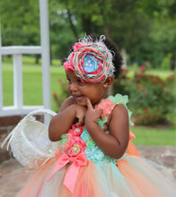 Mint Coral and peach Flower girl dress- Flower Girl Dress- The Harmony