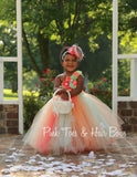 Mint Coral and peach Flower girl dress- Mint Coral and peach flower girl dress-Mint Coral and peach flower girl dress
