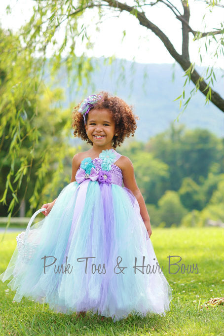 Flower girl dress-Mint and Lavender Flower girl dress- Mint flower girl dress- The Kennedy Gene