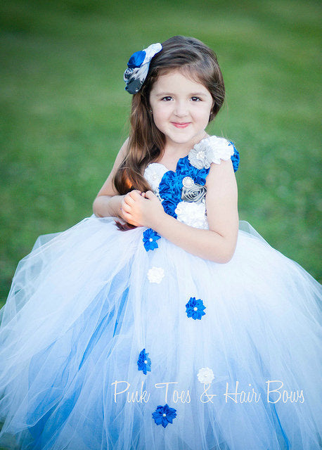 Flower girl dress-Royal Blue Flower girl dress- royal blue and white flower girl dress-The Aubrey