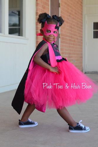 Pink Batgirl costume- Bat girl tutu costume- Batman costume dress- Batman dress-Batman tutu