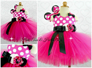 Hot Pink Minnie Mouse Tutu dress- Pink Minnie Mouse tulle dress-Minnie Mouse dress- Minnie Mouse costume-Pink Minnie mouse dress
