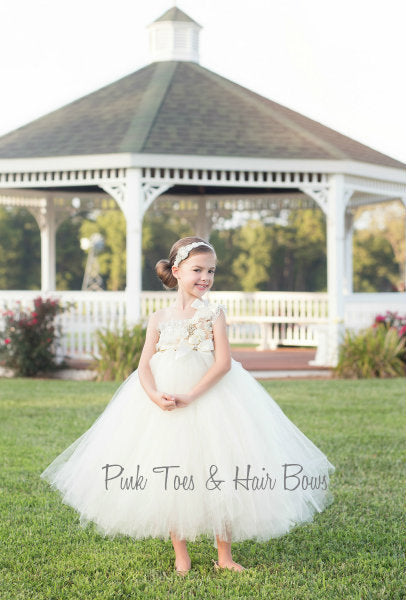 Flower girl dress-Ivory Flower girl dress- The Savannah