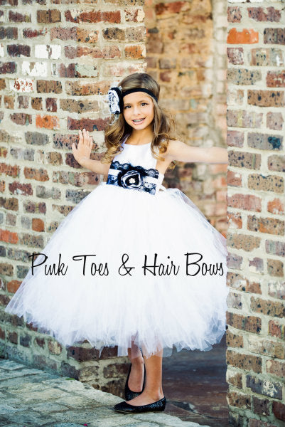 Flower girl dress-White and black Flower girl dress- The Brooklyn Shae