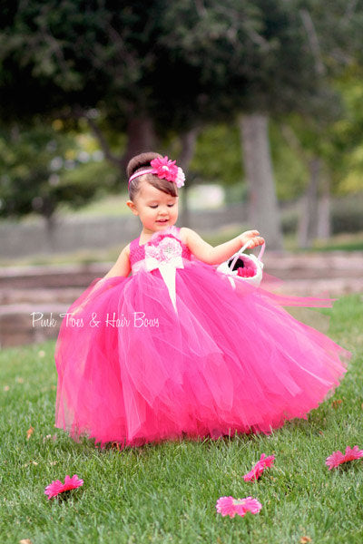 Flower girl dress-Fuschia Flower girl dress- Pink flower girl dress-The Holland Marie
