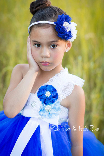 Flower girl dress-Royal Blue Flower girl dress-Blue and white flower girl dress-The Charlotte