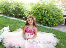 Flower girl dress-Rose pink ivory Flower girl dress- Rose pink flower girl dress-The Hannah