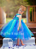 Flower girl dress-Peacock Flower girl dress- Turquoise purple flower girl dress- The Ellie