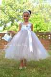 Flower girl Dress- Gray flower girl dress-White flower girl dress- The Madison