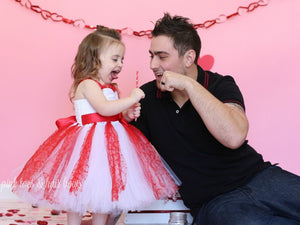 Valentine Dress-Red and White couture Valentines  tutu Dress- Valentines tutu dress-Couture Valentine dress