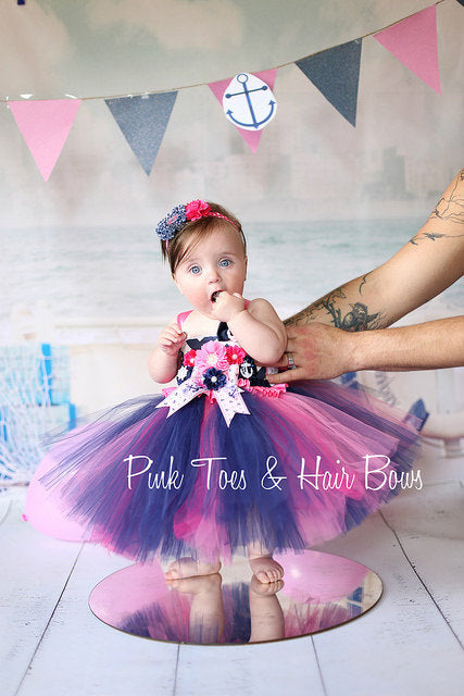Nautical Tutu dress- nautical tulle dress-nautical party dress- nautical dress- first birthday dress