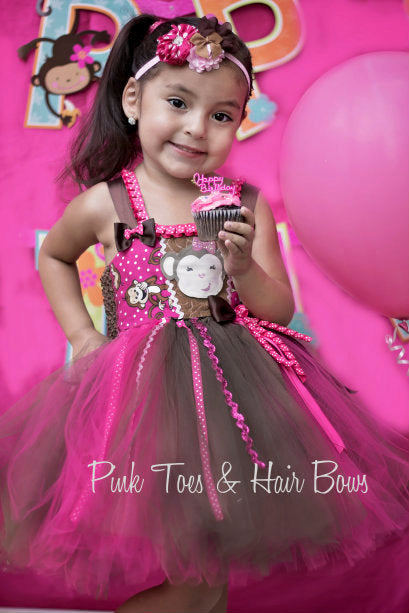 Monkey Tutu dress- Monkey tulle dress- Monkey party dress- cake smash dress- first birthday dress