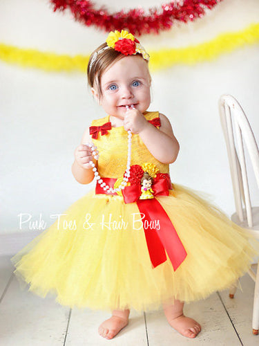 Princess Belle Tutu dress-Princess Belle dress- belle dress-beauty and the beast dress