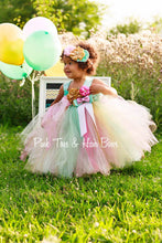 Flower girl dress-Mint Pink and Gold Flower girl dress-unicorn dress-shabby chic dress