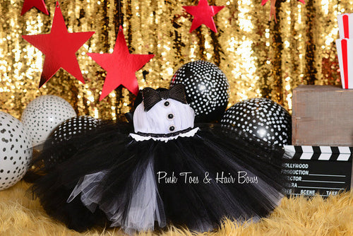 Tuxedo tutu dress-Tuxedo  dress-Tuxedo birthday dress-Flower girl tutu dress-birthday dress
