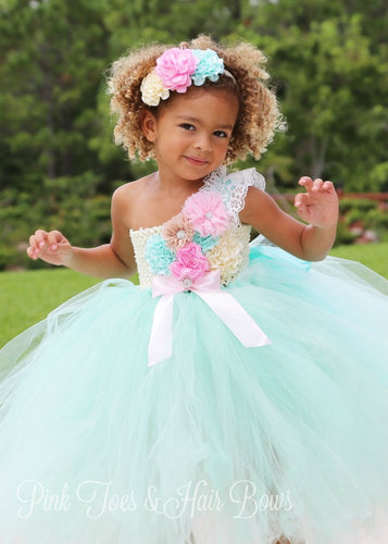 Flower girl dress-Mint Flower Girl Dress-Mint and pink Flower girl dress-The Abigail