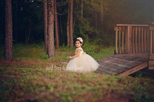 Flower girl dress-Ivory Flower Girl Dress-Ivory and Gold Flower girl dress-The Scout