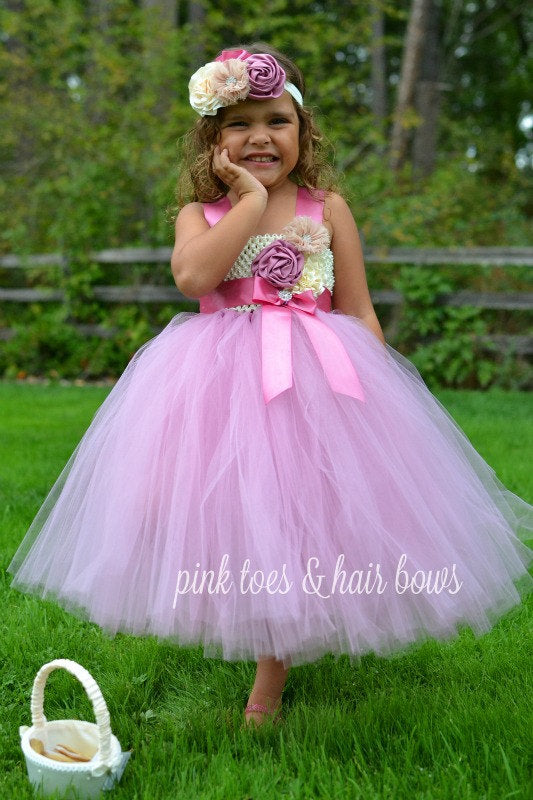 Flower girl dress-Rose pink Flower Girl Dress-Rose pink and ivory Flower girl dress- The Emma