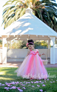 Flower girl dress-Pink Coral and peach Flower girl dress- Pink flower girl dress-The Amelia