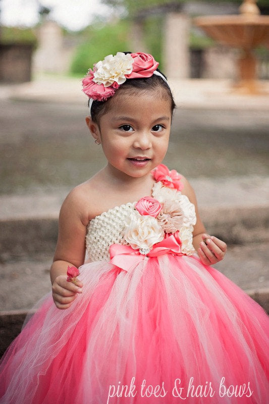 Flower girl dress-Ivory and Coral Flower girl dress- Ivory flower girl dress-The Elizabeth