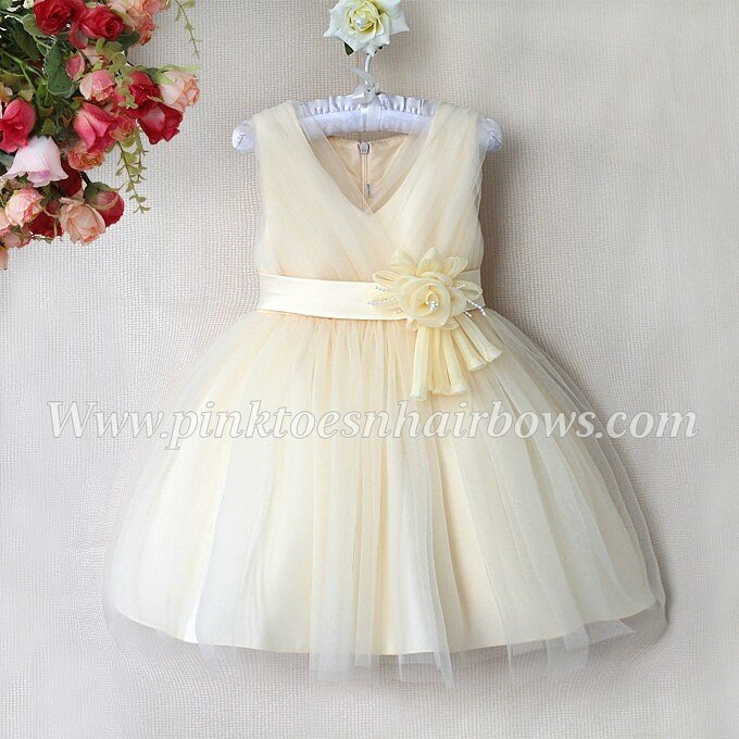 Ivory beige Dreams Holiday Couture Flower girl Dress-Ready to ship
