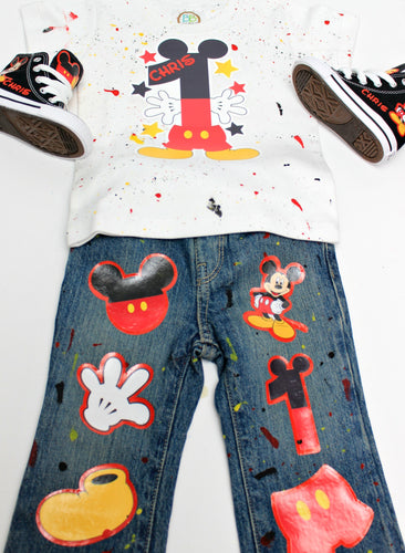 Mickey Mouse Denim Set-Boys Mickey Mouse denim set-Mickey Mouse Birthday outfit-Mickey Mouse boys outfit